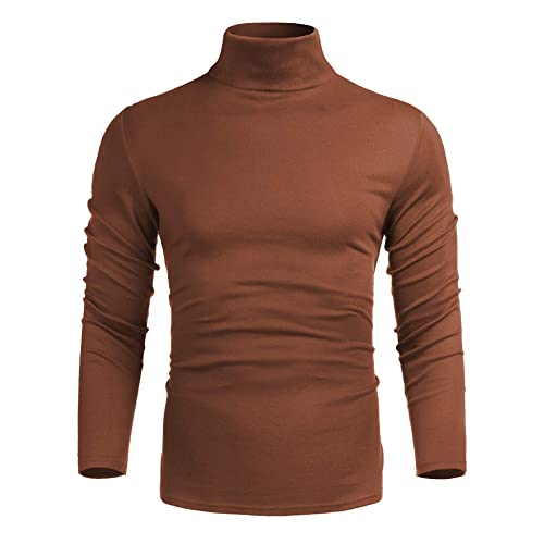 iWoo Mens Casual Knitted Turtleneck Pullover Sweater Slim Fit Basic Tops