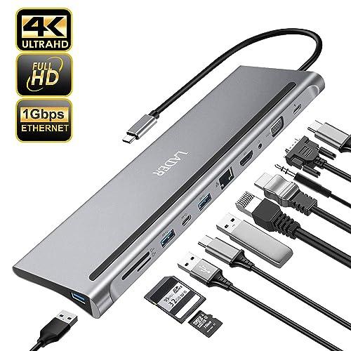 RJ45 Ethernet LADER 11 in 1 USB C Adapter Docking Station with 4K HDMI Laptop Docking SD//TF Card Reader VGA 3 USB 3.0 Samsung USB C HUB iPad Audio for MacBook Pro