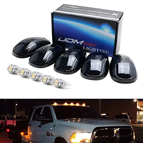 Cab Lights LED Cab Marker Top Roof Running Lights 5PCS Smoked Lens White 5LED Bulbs Aftermarket Replacement Compatible for Ford F250 Dodge Ram SUV Truck 4X4 Jeep ATV Offroad Top Roof DK008