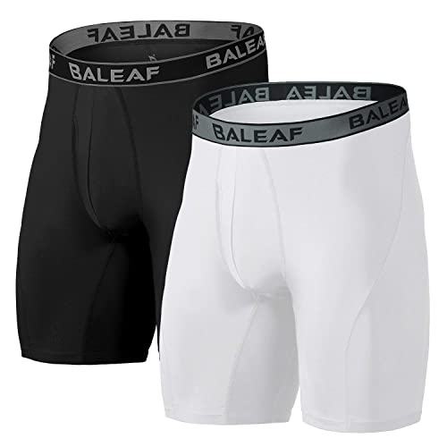 BALEAF 9 Mens Active Underwear Sport Cool Dry Performance Boxer Briefs with Fly 2-Pack