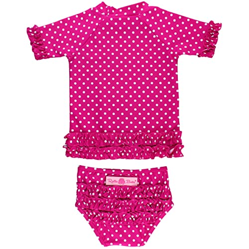 UV JELEUON Baby Girls Kids Toddler 2 Pcs Long Sleever Polka Dots Swimsuit Rash Guard UPF 50