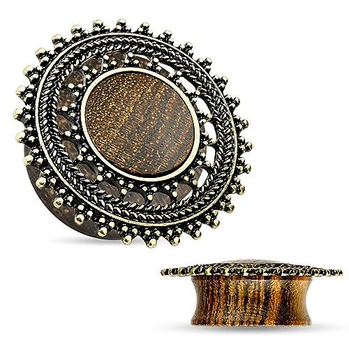 Pair of Rose Wood Saddle Freedom Fashion Plug with Tribal Lotus Top