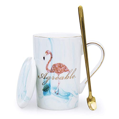 EPFamily Pink Marble Flamingo Coffee Mug Ceramic Tea Cups Gifts Mugs for Women Girls 14 OZ