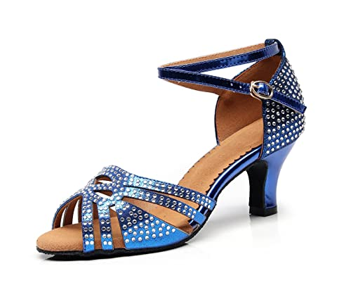 5a7533cad985 Minishion Women s Crystals Ankle Strap Stylish Low Heel Latin Dance Shoes  Wedding Sandals