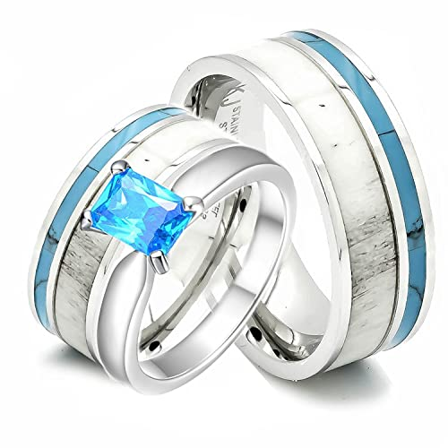 Kingsway Jewelry His and Hers 925 Sterling Silver Blue Saphire Stainless Steel Wedding Rings Set Blue #SP24BLMSBL