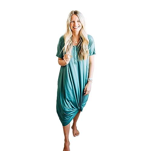 Nursing And Pregnancy Dress Nesting Olive Buttery Soft Modern House Dress Night Gown Sleep Shirt Women Clothing