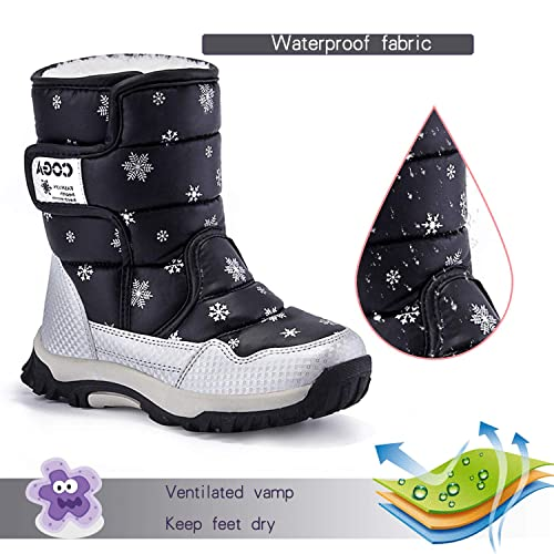 JACKSHIBO Girls Boys Outdoor Waterproof Winter Snow Boots Toddler//Little Kid//Big Kid WWWW-A9905