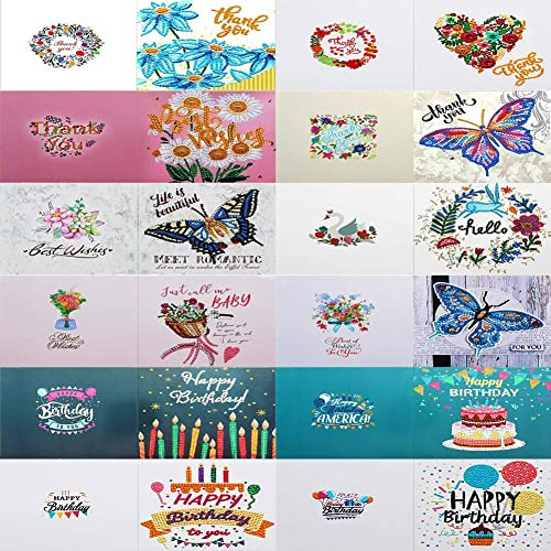 Buy 12pcs Diamond Painting Greeting Cards Special Shape Embroidery