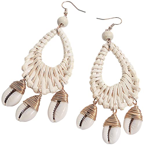 Rattan Pendant Earrings Pendant Earrings with Bee Charm Stud Pendant Earrings