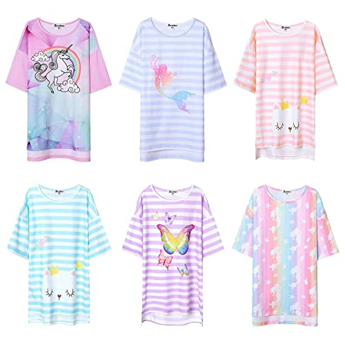 CHENXIN Girls Nightgowns Princess Sleepwear Cute Cotton Sleep Shirts for Toddler 3-12 Years White