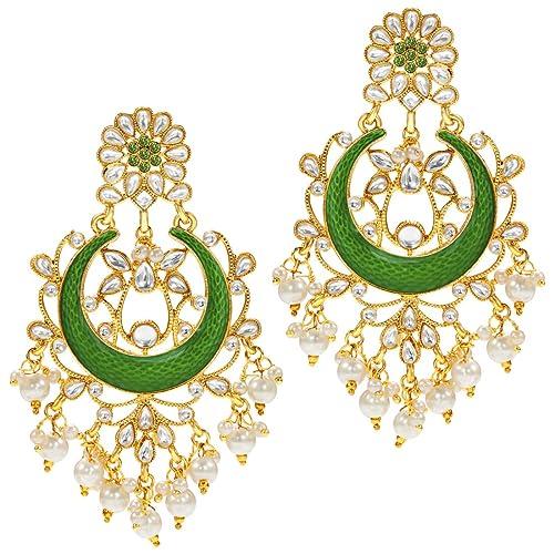 Jwellmart Indian Traditional Ethnic Bollywood Kundan Chandbali Pearl Earrings