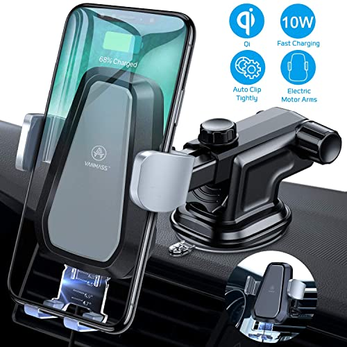 Wireless Charger Car Mount,Automatic Clamping Qi Fast Charging Car Phone Mount,OOLYCIO Dashboard Air Vent Phone Holder for Car,Compatible with iPhone Xs//Xs Max//XR//X//8 Plus//Samsung Galaxy S10//S9//Note8