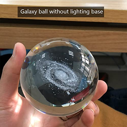 3.15 inch Teacher of Physics Classma Glass Sphere Best Birthday Gift for Kids Astronomer Solar System 3D Crystal Ball with LED lamp Base Clear 80mm Lover of the Universe Boyfriend Girlfriend