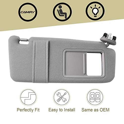 74310-06770-B0 Fit for 2007 2008 2009 2010 2011 Toyota Camry Passenger Sun Visor Grey with Sunroof and Light 74310-33C21-B0 Orion Motor Tech Camry Sun Visor Right
