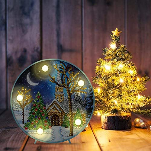 House Xmas Tree Gifts Prosperveil DIY 5D Diamond Painting Christmas Kits with Warm White LED Lights Kids Bedroom Night Light Table Lamp Battery Operated for Children Baby Room Lighting Decor