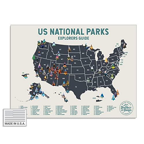 "USA National Park Scratch Off Map (24"" x 17"") - Interactive Travel  Scratch-Off Poster Reveals Images of All 61 US National Parks - Great  National Park ..."