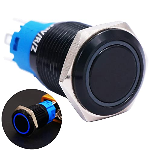 Twidec//19mm Raised Top Latching Push Button Switch 1NO 1NC SPDT Mounting Hole Black Waterproof Stainless Steel Shell with 12V Led Green Ring Pre-wiring Wires for car Modification Switch GL19O-BK-G