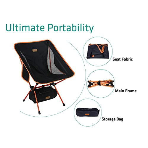 Festival Shoulder Strap Compact Lightweight Folding with Side Pocket Picnic Outdoors Park Ideal for Backpacking KAMUI Portable Camping Chair Larger Feet Beach Camp