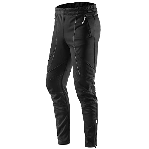KORAMAN Mens Winter Windproof Bike Cycling Pants Thermal Fleece for Cold Weather Outddor Running Hiking