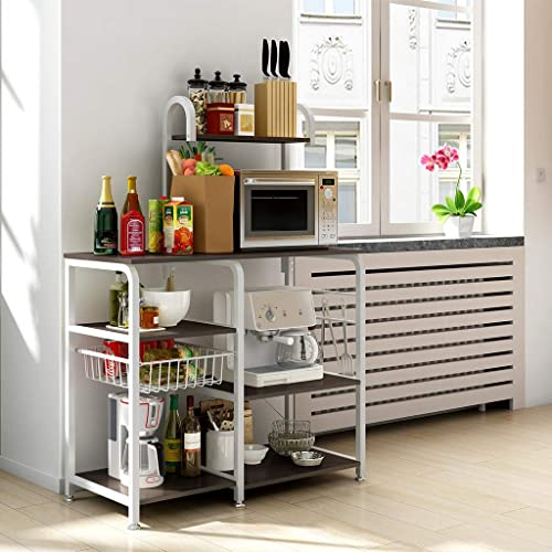 Wooden Tops Kitchen Bakers Rack Organizer Shelf Utility Storage Shelf Coffee Stands Spice Rack Workstation Side Table Auwish Microwave Stands Baker Rack White