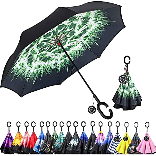 Car Reverse Folding Umbrella Windproof UV Protection with C-Shaped Handle Inverted Umbrella with Watercolor Colorful Hedgehog Print
