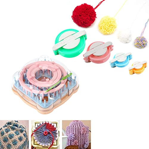 Long+Pompom Maker Wayion Knitting Loom Set with Hook Needle Kit Yarn Cord Knitter 4 Hat Looms