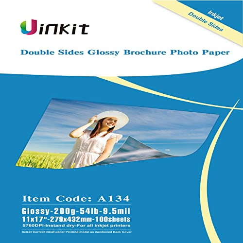 """100 sheets 11/"""" x 17/"""" double sided glossy inkjet photo paper"""