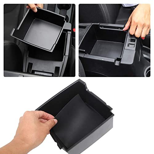 MyGone Center Console Armrest Box Insert Organizer Tray for Jeep Compass 2017-2019 ABS Plastic Secondary Storage with Rubber Liners