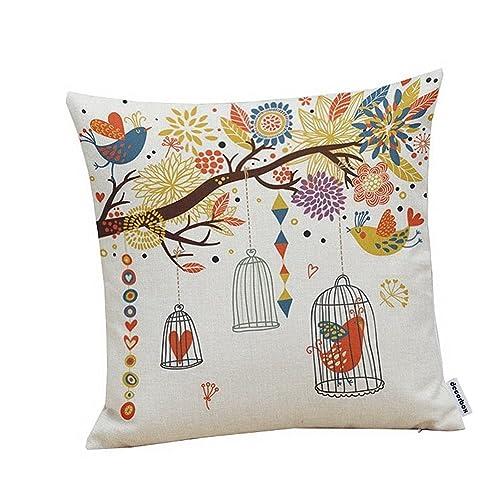 Buy Decorbox Cotton Linen Square Decorative Throw Pillow Case Cushion Cover Birdcage 18 X18 Online In Qatar B00detvn4q
