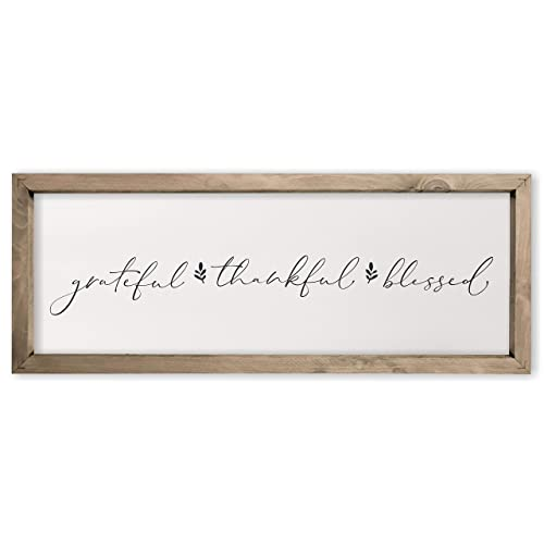 Buy Grateful Thankful Blessed Framed Rustic Wood Farmhouse Wall Sign 6x18 Online In Qatar B07s2ck63n