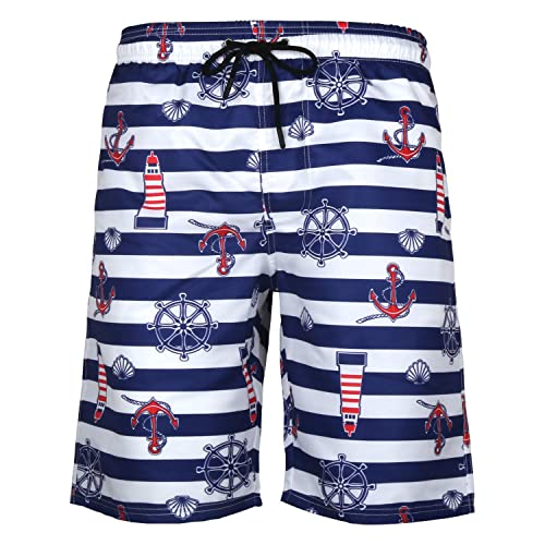 URVIP Mens Slim Fit Quick Dry Short Anchor 3D Swim Trunks with Mesh Lining