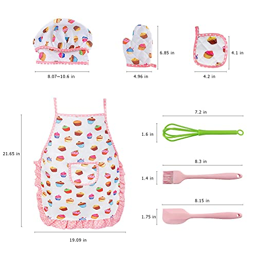 Children Dress Up Chef Role Play Costume Set 18 Pcs Utensils for Ages 3-11 Little Boys Girls Cooking Mitt Kids Cooking Baking Set with Apron Hat
