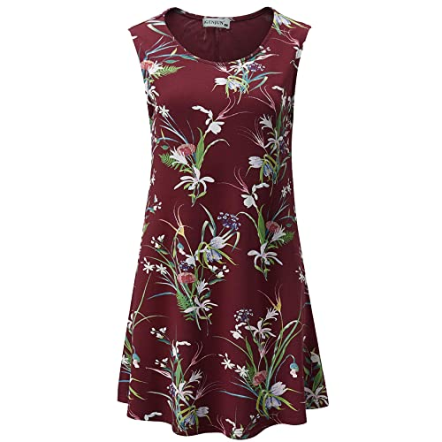 iGENJUN Womens Summer Sleeveless Swing Tunic Casual Floral Flare Tank Tops