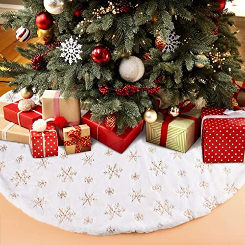 Hely Cancy Christmas Tree Skirt,48 inches White Faux Fur Tree Skirt with Snowflakes Christmas Decorations for Xmas Ornaments Holiday Home Party Decoration Pet Favors