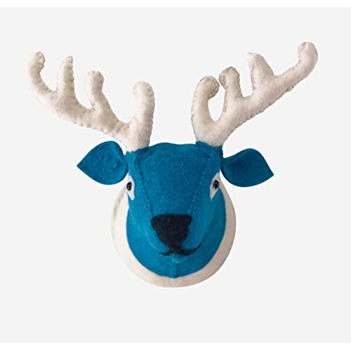 Buy Rex Reg Handmade Reindeer Wall Décor 3d Wool Exterior Stuffed Deer Head Animal Wall Mount Blue Face White Antlers Great Decoration For House Bedroom Or Nursery For Kids Approx 10 X