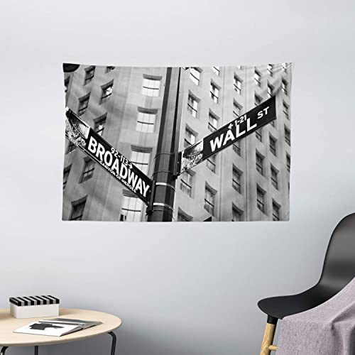 Buy Ambesonne New York Tapestry Street Signs Of Intersection Of Wall Street And Broadway Finance Destinations Wide Wall Hanging For Bedroom Living Room Dorm 60 X 40 White Black Online In Qatar