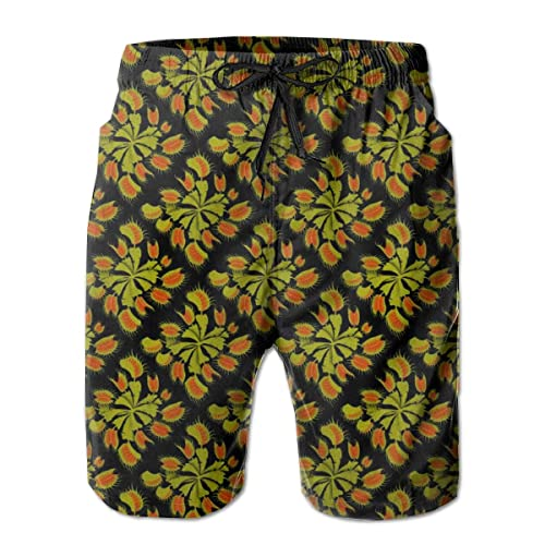 FASUWAVE Mens Swim Trunks Yellow Text Pattern Quick Dry Beach Board Shorts with Mesh Lining