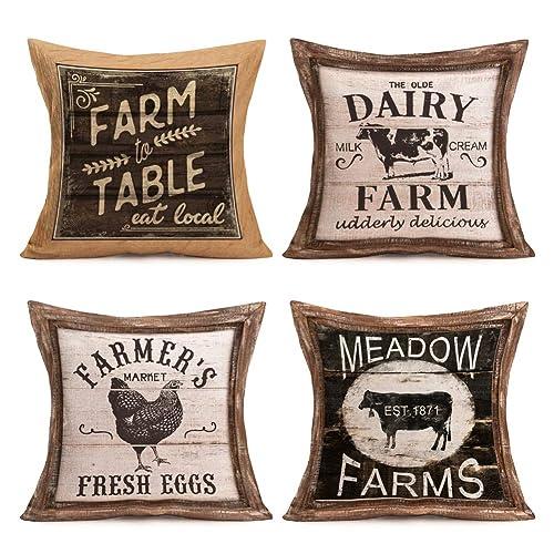 "Farmhouse Decoration Cow Throw Pillow Case Cushion Cover Cotton Linen 18/"" x 18/"""