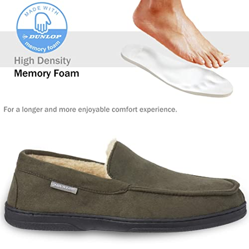 Dunlop Moccasins Slippers Men Breathable Indoor Outdoor Shoes Moccasin Loafers Faux Sheepskin Slippers with Rubber Sole Gifts for Men Memory Foam Plush House Slippers