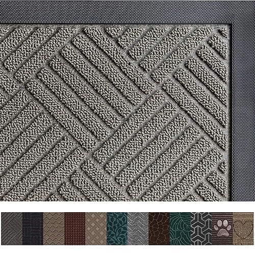 """Tebery Rubber Entrance Door Mat 29.5/"""" x 18/"""" Heavy Duty Doormat Indoor Outdoor Waterproof Floor Mats for Entry Garage Patio High Traffic Areas"""