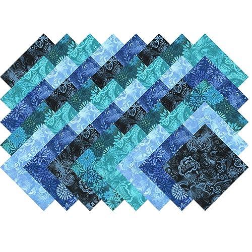 FIVE INCH SQUARES 1 DOZEN BLENDER 0204 sapphire blue MOTTLED SANTEE PRINT WORKS