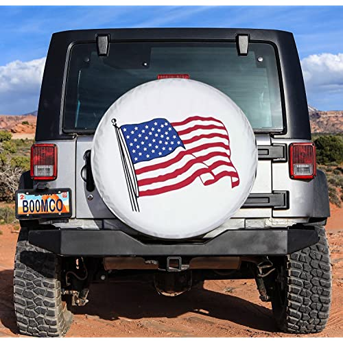 Spare Tire Cover PVC Leather WaterProof Dust-proof Universal Spare Wheel Tire Cover White Star Fit for Jeep,Trailer SUV and Many Vehicle RV 14 for diameter 23-27