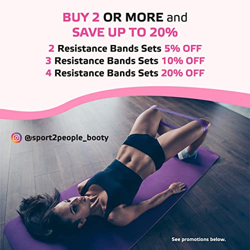 Booty Bands for Women Belus Premium Resistance Bands with Carry Bag Fitness Video Download and Workout eBook Set of 4 Exercise Loops for Legs and Glutes