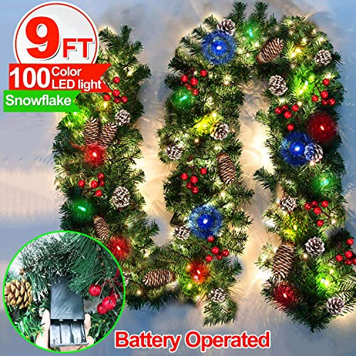 Set of 1, Blue Cherry Juilt 9 Feet Christmas Garland with Lights Decorations Artificial Wreath with Berries and Pinecones Indoors Outdoor Xmas Decorations for Wall Door Stair