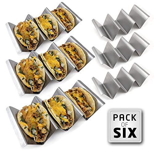 """2 Pack Taco Holder Stands,Stainless Steel Taco Truck Tray Style Holds Up To 3 Tacos Each as Plates,Oven Safe for Baking,Dishwasher and Grill Safe,Easy To Fill Taco Rack,Holders Size 8/"""" x 4/"""" x 2/"""""""