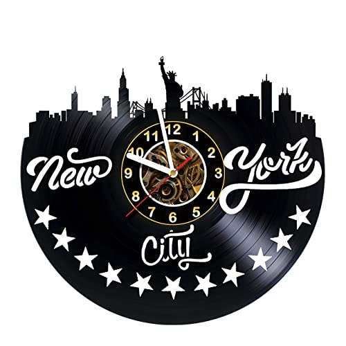 Buy New York City Vinyl Record Wall Clock Poster Skyline Sticker Art Get Unique Living Room Wall Decor Gift Idea For Friends Teens Men And Women