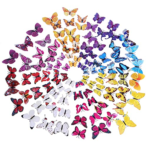 Buy 100 Pcs Butterfly Wall Decor 3d Butterfly Wall Stickers Decals Decorations For Nursery Classroom Offices Kids Girl Boy Baby Bedroom Bathroom Living Room Magnets And Glue Sticker Set Online In Qatar