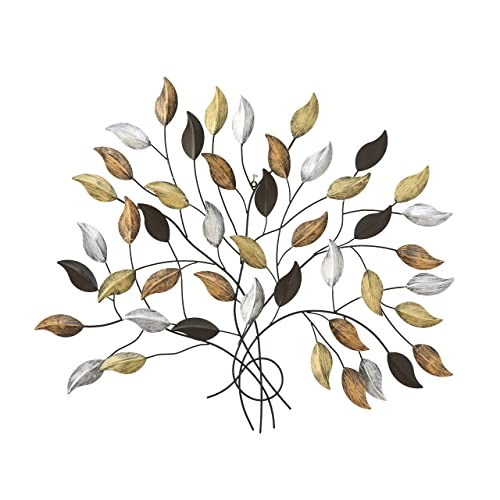 Buy Whw Whole House Worlds Tree Of Life Wall Art Silver Gold And Copper Leaves With Brown Branches Artisan Crafted Distressed Rubbed Rustic Finish Lacquered Iron 40 12 Wide X 35 34