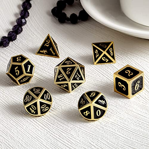 7 die Metal Polyhedral Dice Set with Metal Box Blue Color and Gold Number for Role Playing Game Dungeons and Dragons D/&D Pathfinder and Shadowrun Metal Dice Set DND
