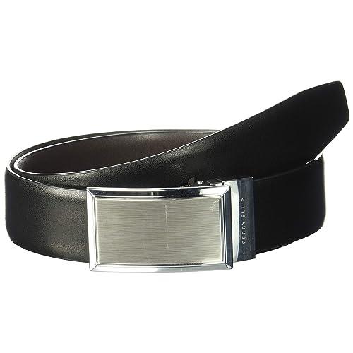 Perry Ellis Mens Graphite Plaque Belt